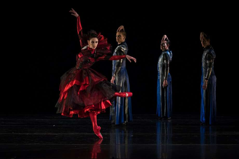 "Jackie McConnell (left), Michael Wells, Felipe Leon and Alex McCleery in Diablo Ballet's ""Red Shoes."" Photo: Natalia Perez / Natalia Perez"