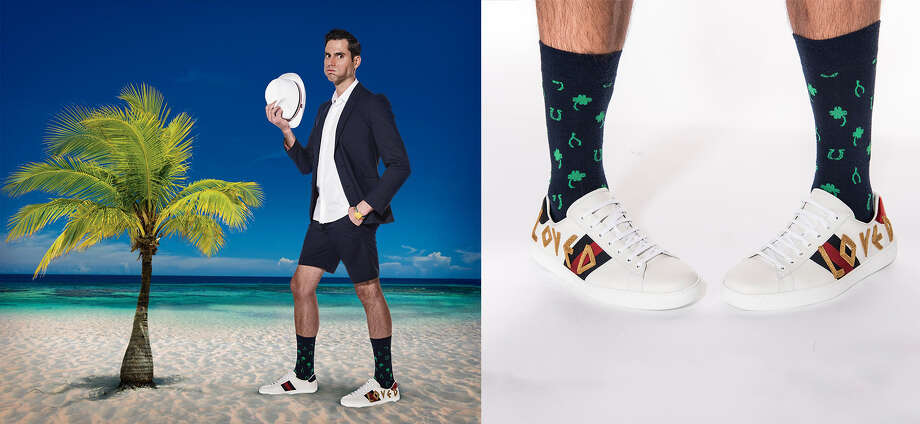 Drew Tuma wears a Paul Smith jacket, $995, Paul Smith shorts, $495; Neil Barrett shirt, $420; Gucci Loved sneakers, $670; and Block Headwear braided straw hat, $98, all Saks Fifth Avenue, 384 Post St., S.F.; Gucci rainbow strap lions head watch, $790, Barneys New York Men's Store. Socks, Tuma's own. Photo: By Michael Short And Getty;  Daymond Gascon / Photo Illustration;