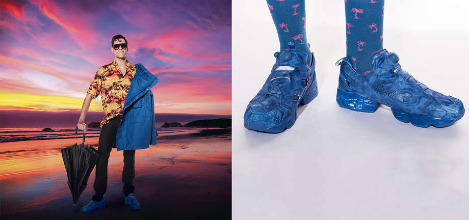 Drew Tuma wears a Balenciaga parka, $2,590, Balenciaga sunset Hawaiian shirt, $750; Margiela black slim jean, $550; Dita Endurance 88 sunglasses, $750; Vetements blue InstaPump Fury sneakers, $790, and Barneys umbrella, $75, all Barneys New York Mens Store. Styling: Tony Bravo; hair & makeup: Ron Pernell. Photo: By Michael Short And Getty;  Daymond Gascon / Photo Illustration;