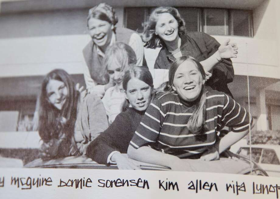 Above: Kim Allen (lower right) in a photo from her 1969 yearbook from Ur su line High School in Santa Rosa, three years before she was killed. Photo: Ursuline High School 1969
