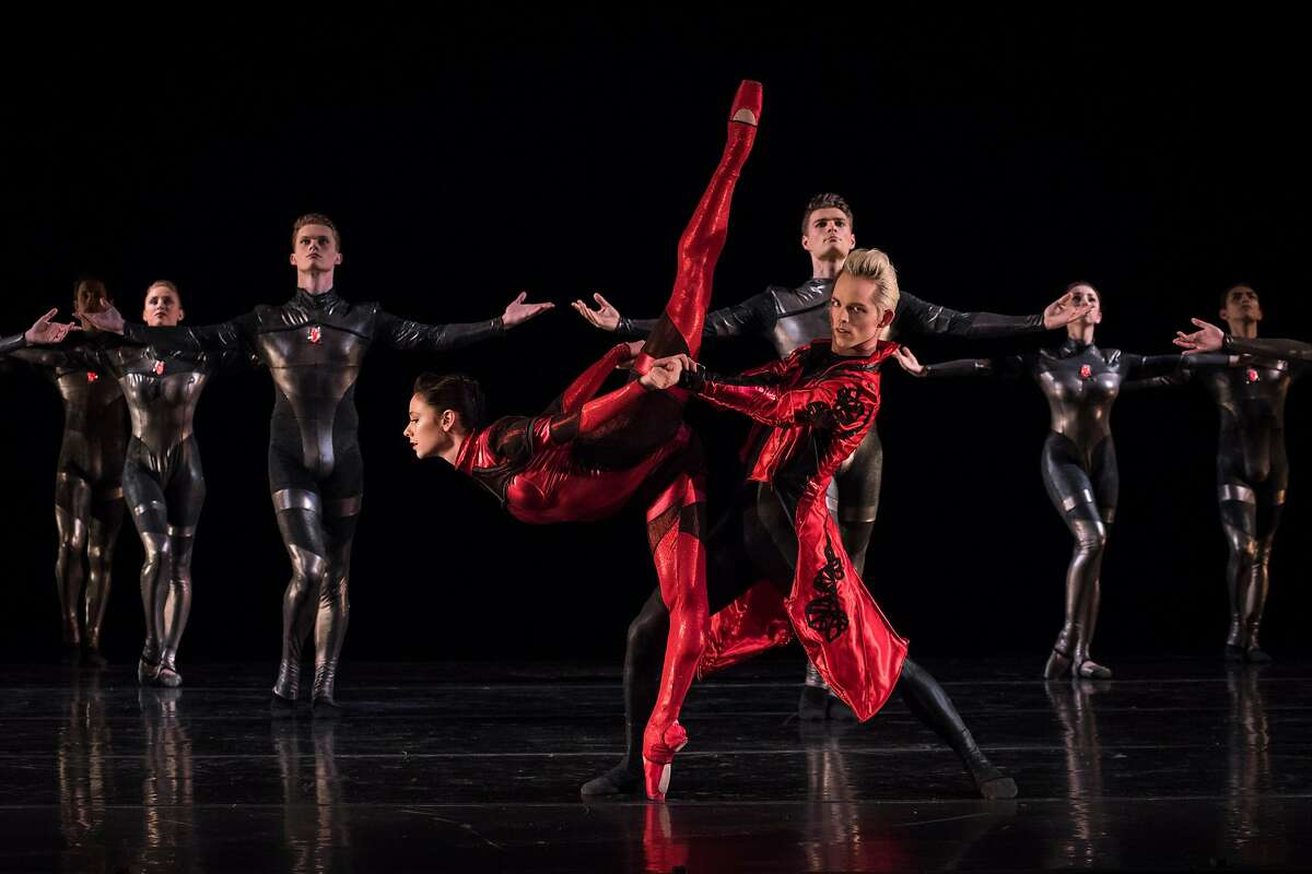 Jackie McConnell and Christian Squires with the Diablo Ballet dancers in Robert Dekkers' Red Shoes.