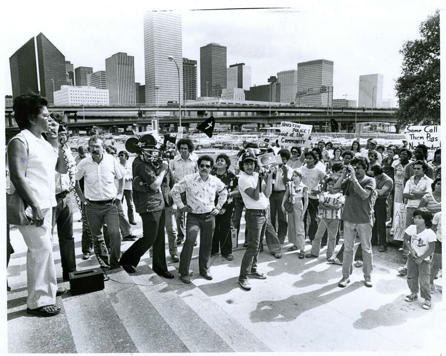 10/08/1977 - Margaret Torres, mother of Joe Campos Torres, speaks to a crowd gathered at the Houston police station to protest the verdict handed down by a Huntsville jury in the murder trial of former Houston policemen Terry Denson and Stephen Orlando. Photo: Orie Collins,  HC Staff / Houston Chronicle / Houston Chronicle