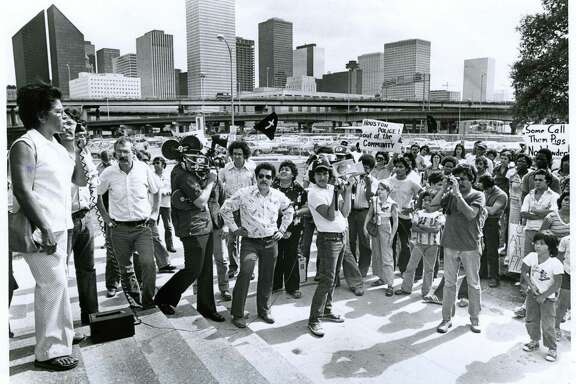 10/08/1977 - Margaret Torres, mother of Joe Campos Torres, speaks to a crowd gathered at the Houston police station to protest the verdict handed down by a Huntsville jury in the murder trial of former Houston policemen Terry Denson and Stephen Orlando.