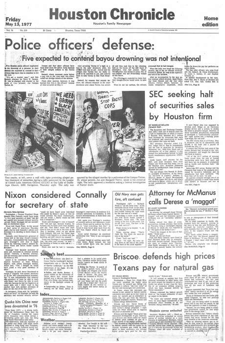 Houston Chronicle front page (HISTORIC) - May 11, 1977 - section 1, page 1. (JOSE CAMPOS TORRES) Photo: Houston Chronicle