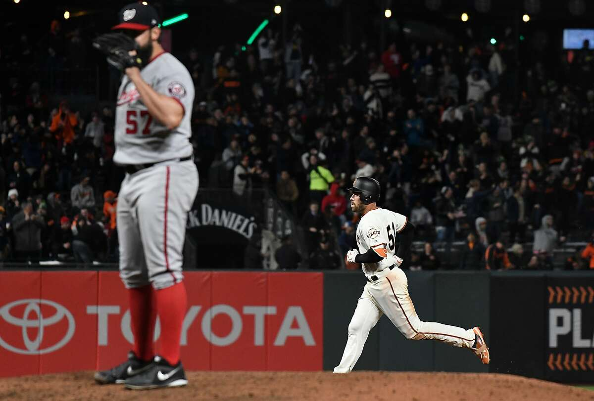 SAN FRANCISCO, CA - APRIL 24: Mac Williamson #51 of the San Francisco Giants rounds the bases on his solo home run off of Tanner Roark #57 of the Washington Nationals in the bottom of the six inning at AT&T Park on April 24, 2018 in San Francisco, California. (Photo by Thearon W. Henderson/Getty Images)