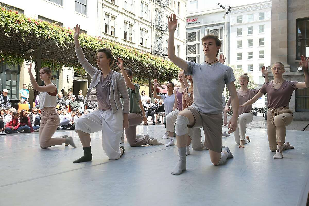 Dance students from the Alonzo King Lines Ballet training program perform for HeART of Market for it's outdoor dance festival at the Mint Plaza on Friday, May 4, 2018 in San Francisco, Calif.