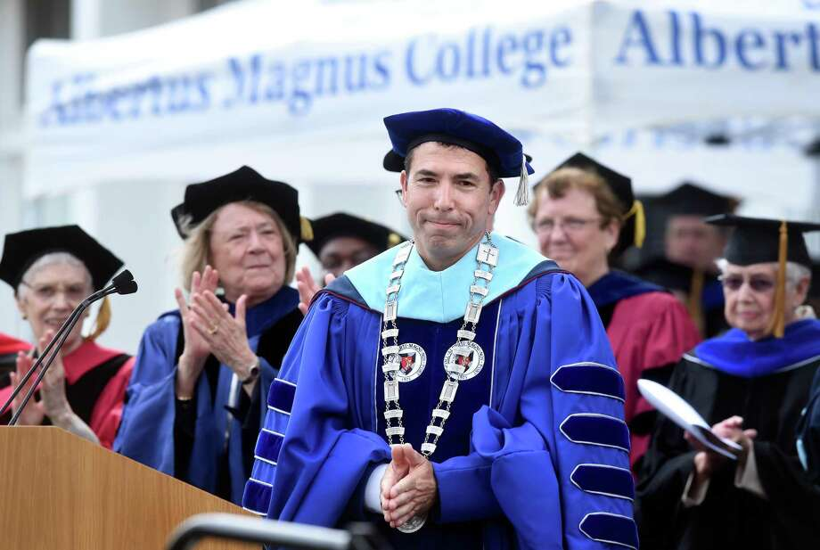 Albertus Magnus College President Marc Camille prepares to speak after being inaugurated Friday. Photo: Arnold Gold / Hearst Connecticut Media / New Haven Register