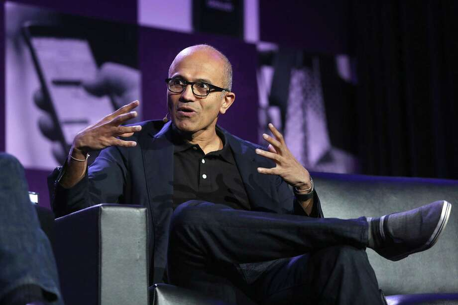 Microsoft CEO Satya Nadella speaks during the Next: Economy conference in San Francisco, California, on Friday, November 3, 2015. Photo: Liz Hafalia, Staff / The Chronicle / ONLINE_YES