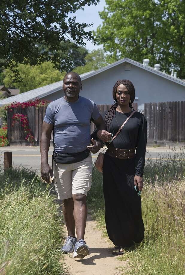 Tanesh Nutall and her husband, Pierr Nutall, at Jan Park near her home in Carmichael (Sacramento County). Photo: Jessica Christian / The Chronicle