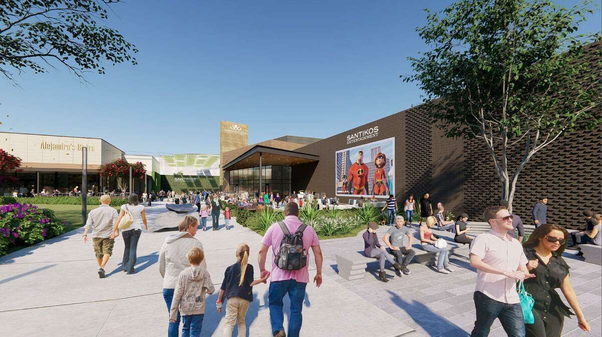 Santikos Entertainment released new renderings Friday of its 87,000-square-foot movie, bowling and live music complex in Cibolo.