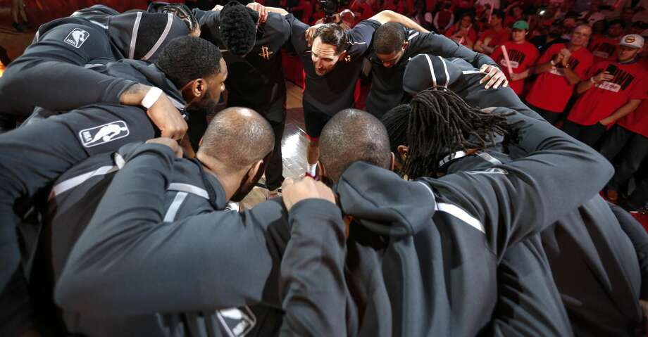 The Houston Rockets huddle up following introductions before Game 1 of an NBA basketball second-round playoff series against the Utah Jazz at Toyota Center on Sunday, April 29, 2018, in Houston. ( Brett Coomer / Houston Chronicle ) Photo: Brett Coomer/Houston Chronicle
