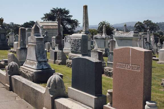 Tombstones line the 20-acre burial grounds at Home of Peace Cemetery in Colma, Calif., Tuesday, May 1, 2018. Bay Area synagogues, Congregation Beth Sholom and Peninsula Temple Sholom, have two designated sections at Home of Peace Cemetery.