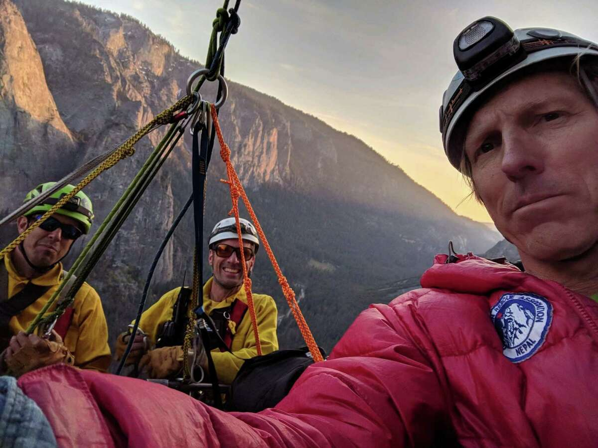 Hans Florine took a selfie Thursday as he was being rescued from El Capitan in Yosemite National Park.