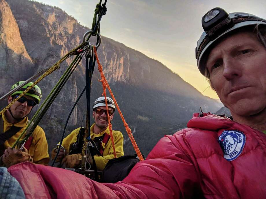 Hans Florine took a selfie Thursday as he was being rescued from El Capitan in Yosemite National Park. Photo: Courtesy Hans Florine