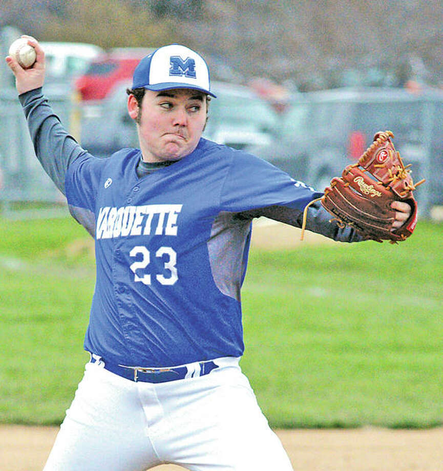 Marquette's Luke Simmons scattered seven hits, walked five and struck out nine in his team's 8-3 victory over East Alton-Wood River Friday. Photo:       Telegraph Photo