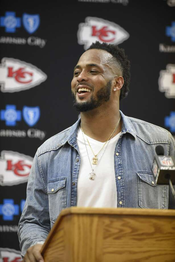 FILE - In this Sept. 25, 2016, file photo, Kansas City Chiefs linebacker Derrick Johnson smiles during a news conference following an NFL football game against the New York Jets in Kansas City, Mo. Players such as Johnson, who is entering his 13th season, are about as rare as the I-formation in an era when the NFL Players� Association reports the average career lasts just over three years. (AP Photo/Ed Zurga, File) Photo: Ed Zurga / Associated Press