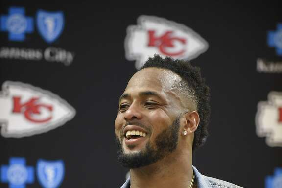 FILE - In this Sept. 25, 2016, file photo, Kansas City Chiefs linebacker Derrick Johnson smiles during a news conference following an NFL football game against the New York Jets in Kansas City, Mo. Players such as Johnson, who is entering his 13th season, are about as rare as the I-formation in an era when the NFL Players� Association reports the average career lasts just over three years. (AP Photo/Ed Zurga, File)
