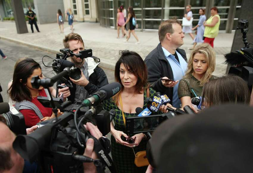 NEW YORK, NY - MAY 04: Toni Natalie, a former associate of Keith Raniere, speaks to the media outside the United States Eastern District Court after a bail hearing for actress Allison Mack and NXIVM founder Keith Raniere in relation to the sex trafficking charges on May 4, 2018 in the Brooklyn borough of New York City. Actress Allison Mack, known for her role on 'Smallville', is charged with sex trafficking. Along with alleged cult leader Keith Raniere, prosecutors say Mack recruited women to an upstate New york mentorship group NXIVM that turned them into sex slaves. (Photo by Jemal Countess/Getty Images) FallofNXIVM.com