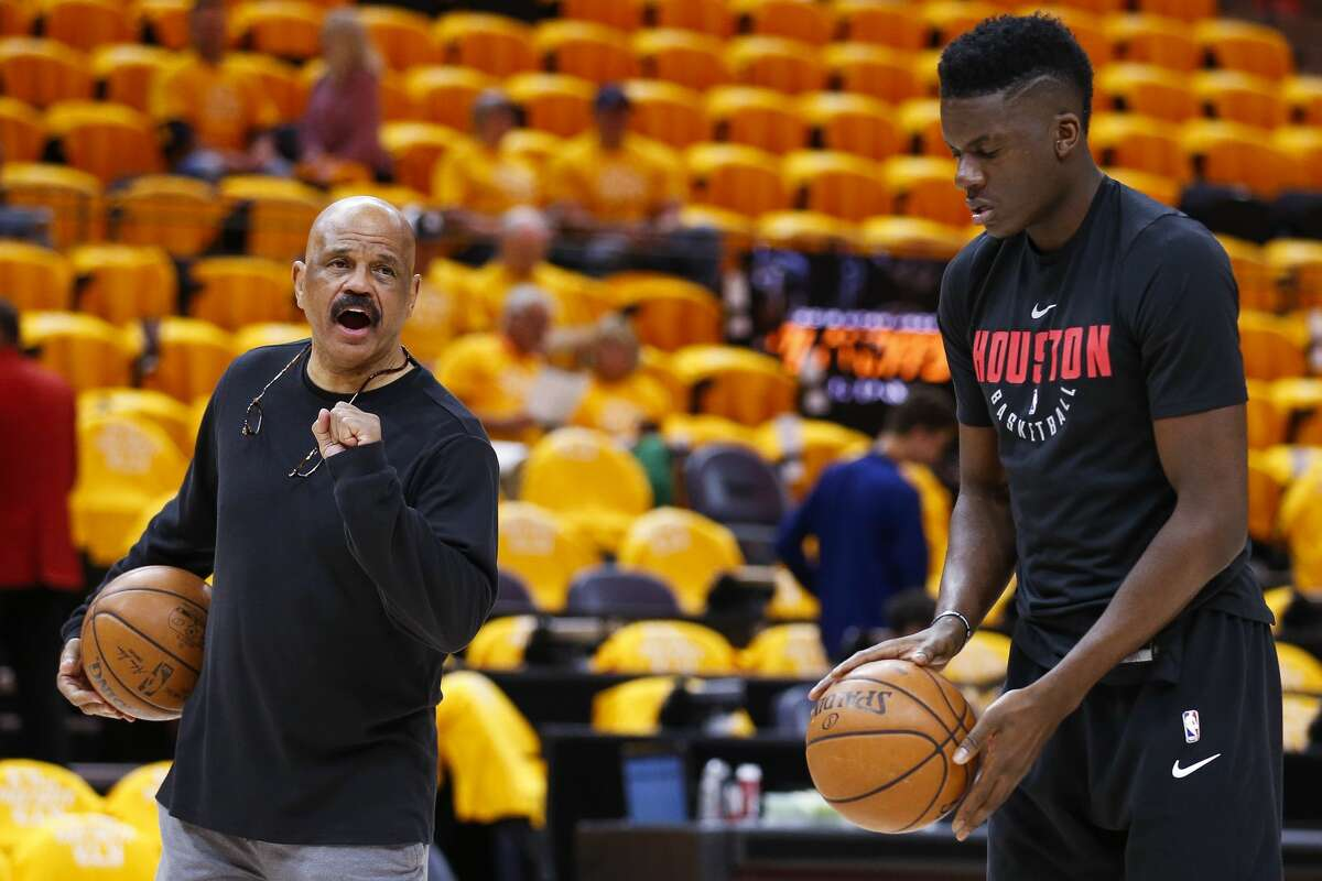 Houston Rockets center Clint Capela (15) warms up with player development coach John Lucas before Game 3 of the NBA second-round playoff series against the Utah Jazz at Vivint Smart Home Arena Friday, May 4, 2018 in Salt Lake City. (Michael Ciaglo / Houston Chronicle)
