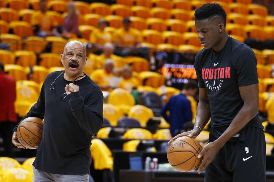Houston Rockets center Clint Capela (15) warms up with player development coach John Lucas before Game 3 of the NBA second-round playoff series against the Utah Jazz at Vivint Smart Home Arena Friday, May 4, 2018 in Salt Lake City. (Michael Ciaglo / Houston Chronicle) Photo: Michael Ciaglo/Houston Chronicle