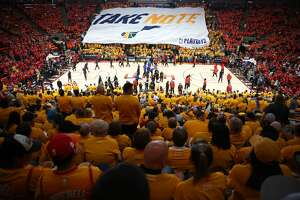 The Houston Rockets and the Utah Jazz warm up before Game 3 of the NBA second-round playoff series at Vivint Smart Home Arena Friday, May 4, 2018 in Salt Lake City. (Michael Ciaglo / Houston Chronicle)