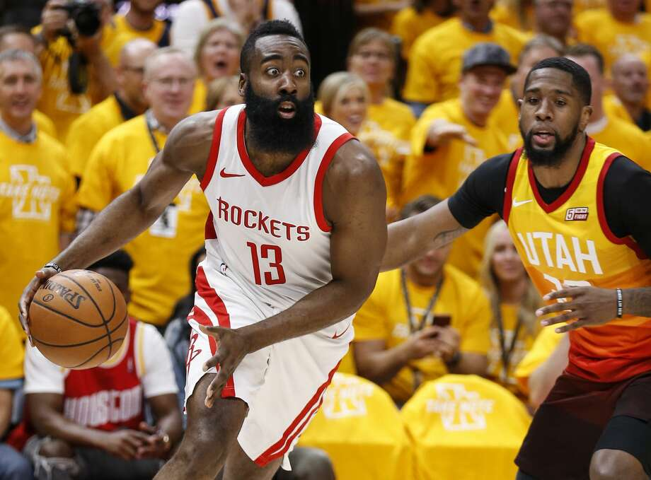 Houston Rockets guard James Harden (13) drives past Utah Jazz forward Royce O'Neale (23) during the first half of Game 3 of the NBA second-round playoff series at Vivint Smart Home Arena Friday, May 4, 2018 in Salt Lake City. (Michael Ciaglo / Houston Chronicle) Photo: Michael Ciaglo/Houston Chronicle