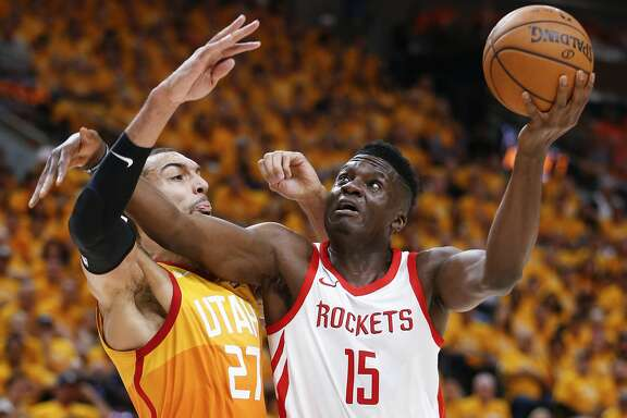 Houston Rockets center Clint Capela (15) works against  Utah Jazz center Rudy Gobert (27) for a shot during the first half of Game 3 of the NBA second-round playoff series at Vivint Smart Home Arena Friday, May 4, 2018 in Salt Lake City. (Michael Ciaglo / Houston Chronicle)