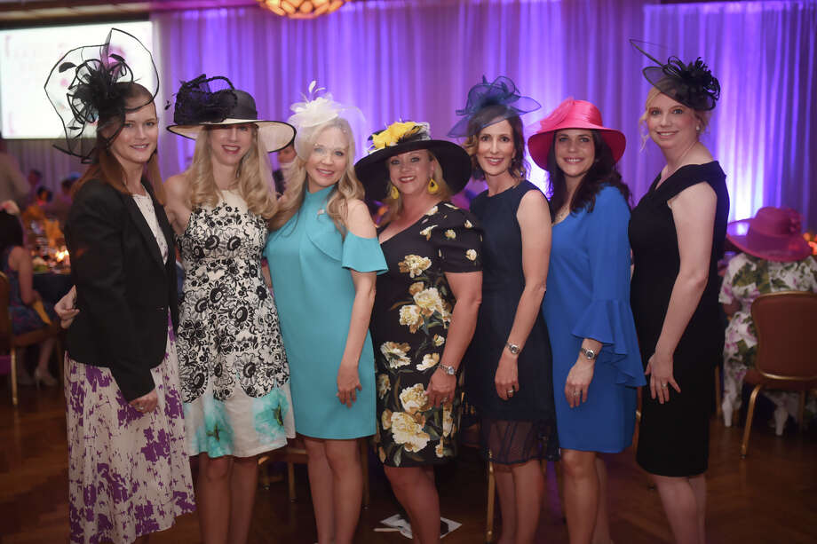 From left, Valerie Acosta, Cari Chaplin, Anne Mouton, April Marshall, Chairman of the Board, Apryl McDonald, Anita Gamertsfelder, and Brandy Wrangham, event chair, photographed during the 6th Annual Jokeys, Juleps and all that Jazz fundraiser banquet for Communities In Schools May 4, 2018, at the Petroleum Club. James Durbin/Reporter-Telegram Photo: James Durbin
