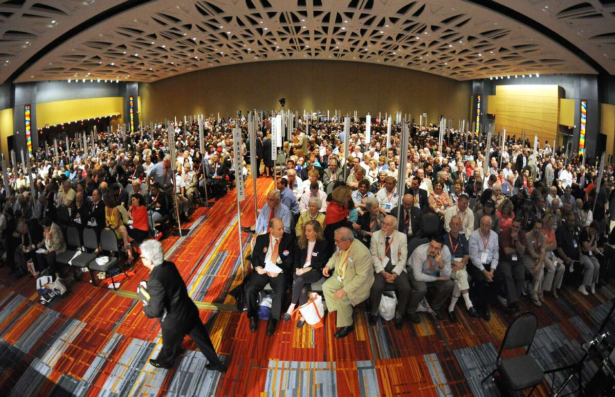 A view from the stage of the delegates at the GOP convention in downtown Hartford in May 2010.