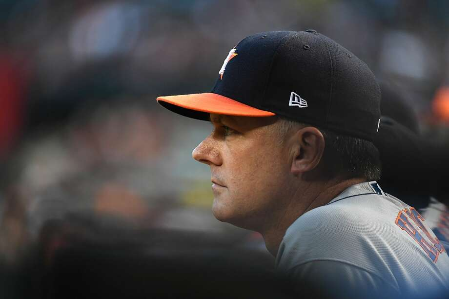PHOTOS: A.J. Hinch in his playing days at Stanford PHOENIX, AZ - MAY 04:  Manager AJ Hinch #14 of the Houston Astros looks on from the bench during the second inning against the Arizona Diamondbacks at Chase Field on May 4, 2018 in Phoenix, Arizona.  (Photo by Norm Hall/Getty Images) Photo: Norm Hall/Getty Images