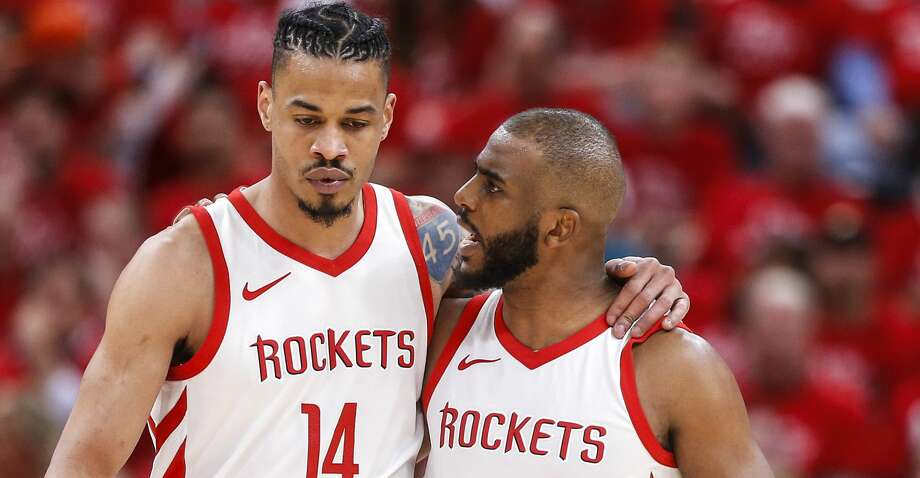 Houston Rockets guard Chris Paul (3) talks to guard Gerald Green (14) as they walk upcourt during the second half of Game 3 of the NBA second-round playoff series against the Utah Jazz  at Vivint Smart Home Arena Friday, May 4, 2018 in Salt Lake City. (Michael Ciaglo / Houston Chronicle) Photo: Michael Ciaglo/Houston Chronicle