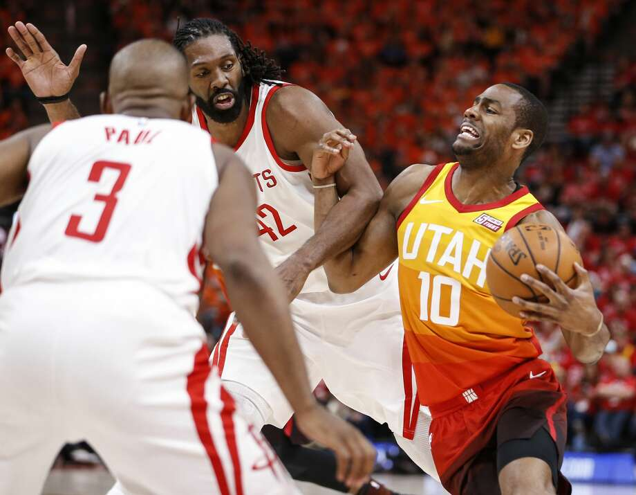 Utah Jazz guard Alec Burks (10) gets tangled up with Houston Rockets center Nene (42) during the second half of Game 3 of the NBA second-round playoff series at Vivint Smart Home Arena Friday, May 4, 2018 in Salt Lake City. (Michael Ciaglo / Houston Chronicle) Photo: Michael Ciaglo/Houston Chronicle