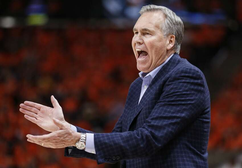 Houston Rockets head coach Mike D'Antoni makes a call from the bench during the second half of Game 3 of the NBA second-round playoff series against the Utah Jazz at Vivint Smart Home Arena Friday, May 4, 2018 in Salt Lake City. (Michael Ciaglo / Houston Chronicle)