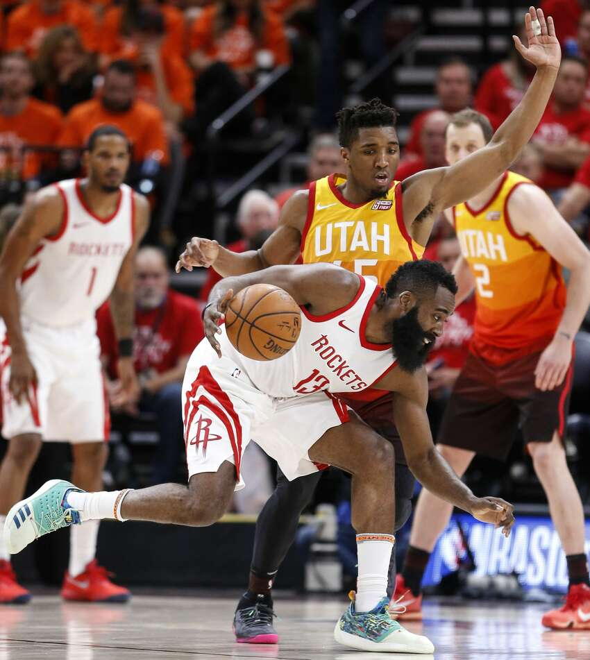 Houston Rockets guard James Harden (13) works agaisnt Utah Jazz guard Donovan Mitchell (45) during the second half of Game 3 of the NBA second-round playoff series at Vivint Smart Home Arena Friday, May 4, 2018 in Salt Lake City. (Michael Ciaglo / Houston Chronicle)