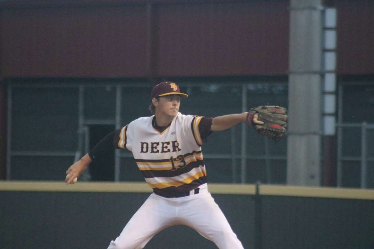 Jaden Otts displays his form Friday night that handcuffed Summer Creek on four singles and eight strikeouts.