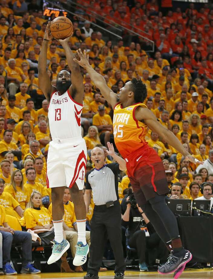41334e9795b Houston guard James Harden shoots over Utah s Donovan Mitchell as the  Rockets take Game 3 of