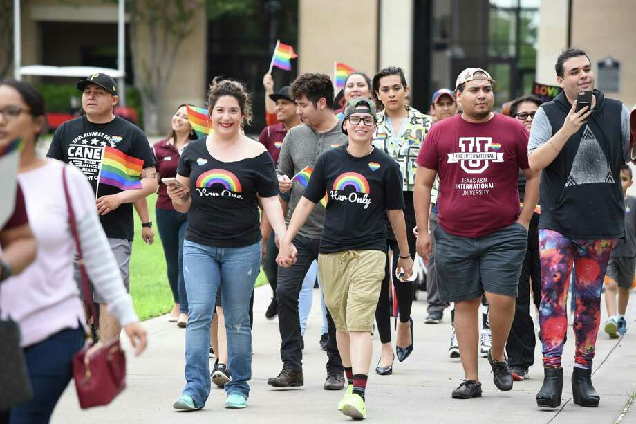 """TAMIU's Campus Ally Network, along with students and the community, gathered on May 4 to kick off Pride Walk and Pride Fest on the campus grounds. The group's co-founder said they hope to use an upcoming event at TAMIU boasting the question """"Can homosexuals (LGBTQ) change?"""" to begin a conversation. Photo: Danny Zaragoza / Laredo Morning Times"""