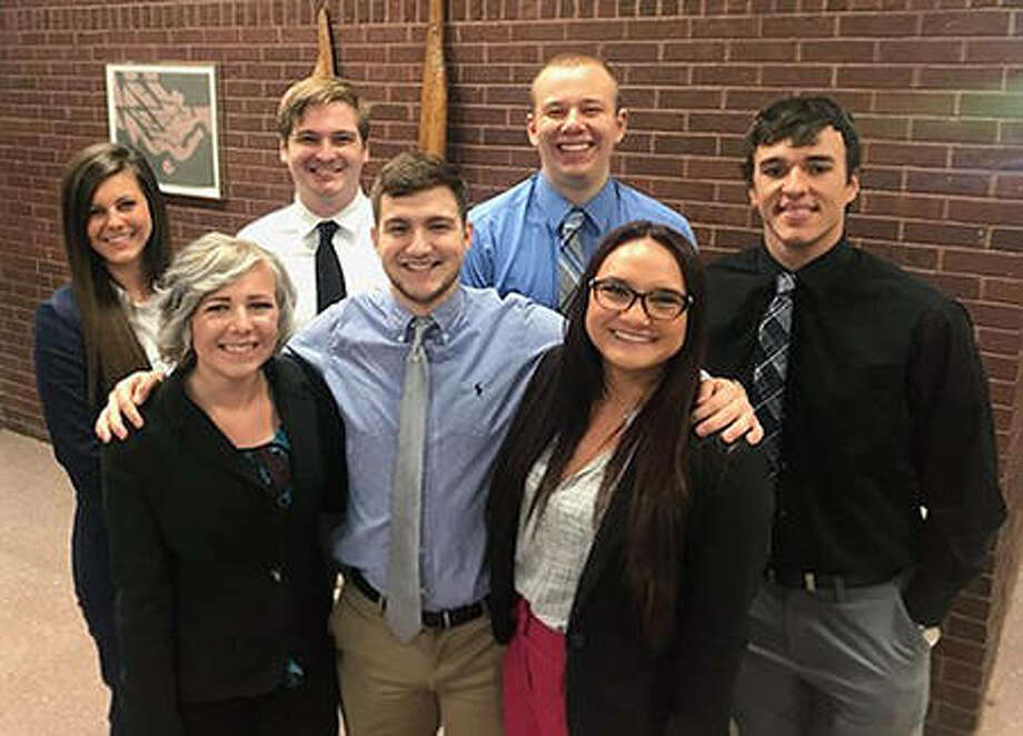 Partnering with Gateway 180 for their Senior Assignment were SIUE corporate and organizational communication students, back from left, Maria Miller, Joey Miles, James Moss, Austin Glendinning, and, front from left, Bri Leifker, Sam Butler and Mariah Vollmer. Photo:       For The Telegraph