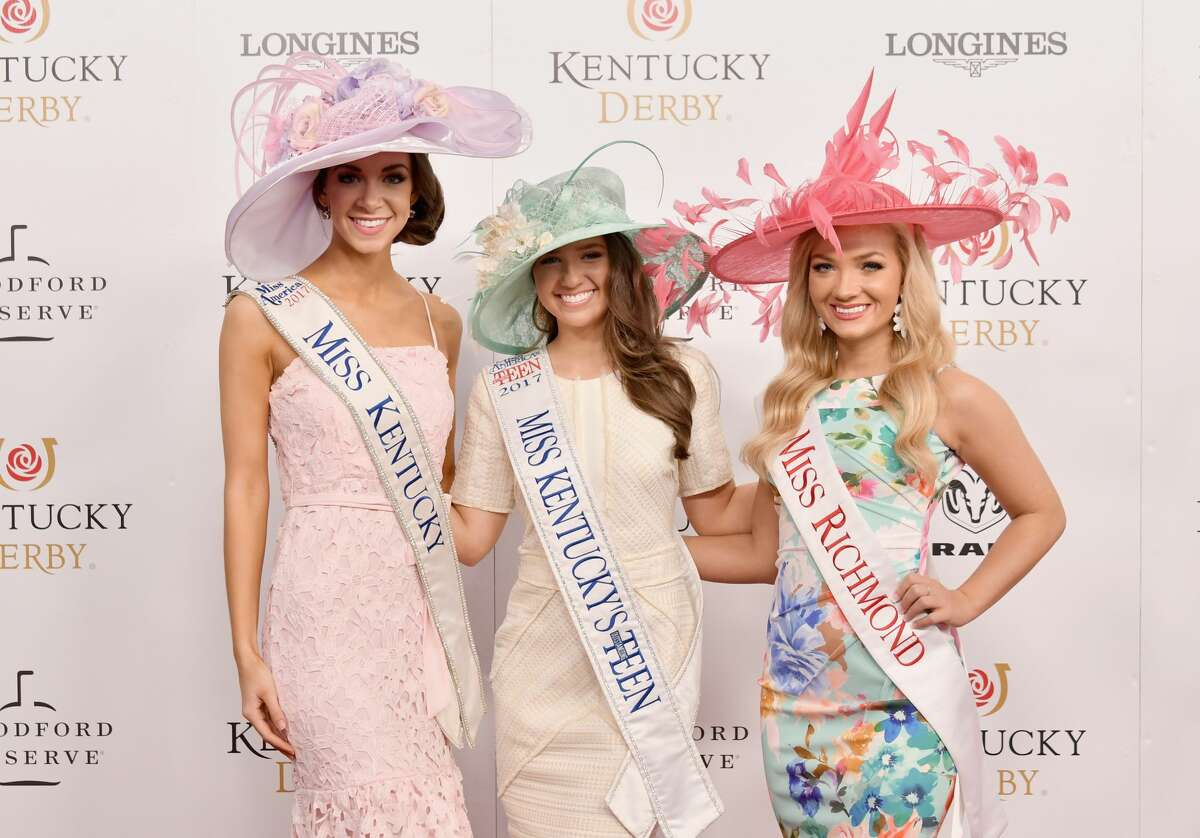 Miss Kentucky 2017 Molly Matney, Miss Kentucky's Outstanding Teen 2017 Abby Quammen, and Miss Richmond 2018 Morgan Moses attend Kentucky Derby 144 on May 5, 2018 in Louisville, Kentucky.