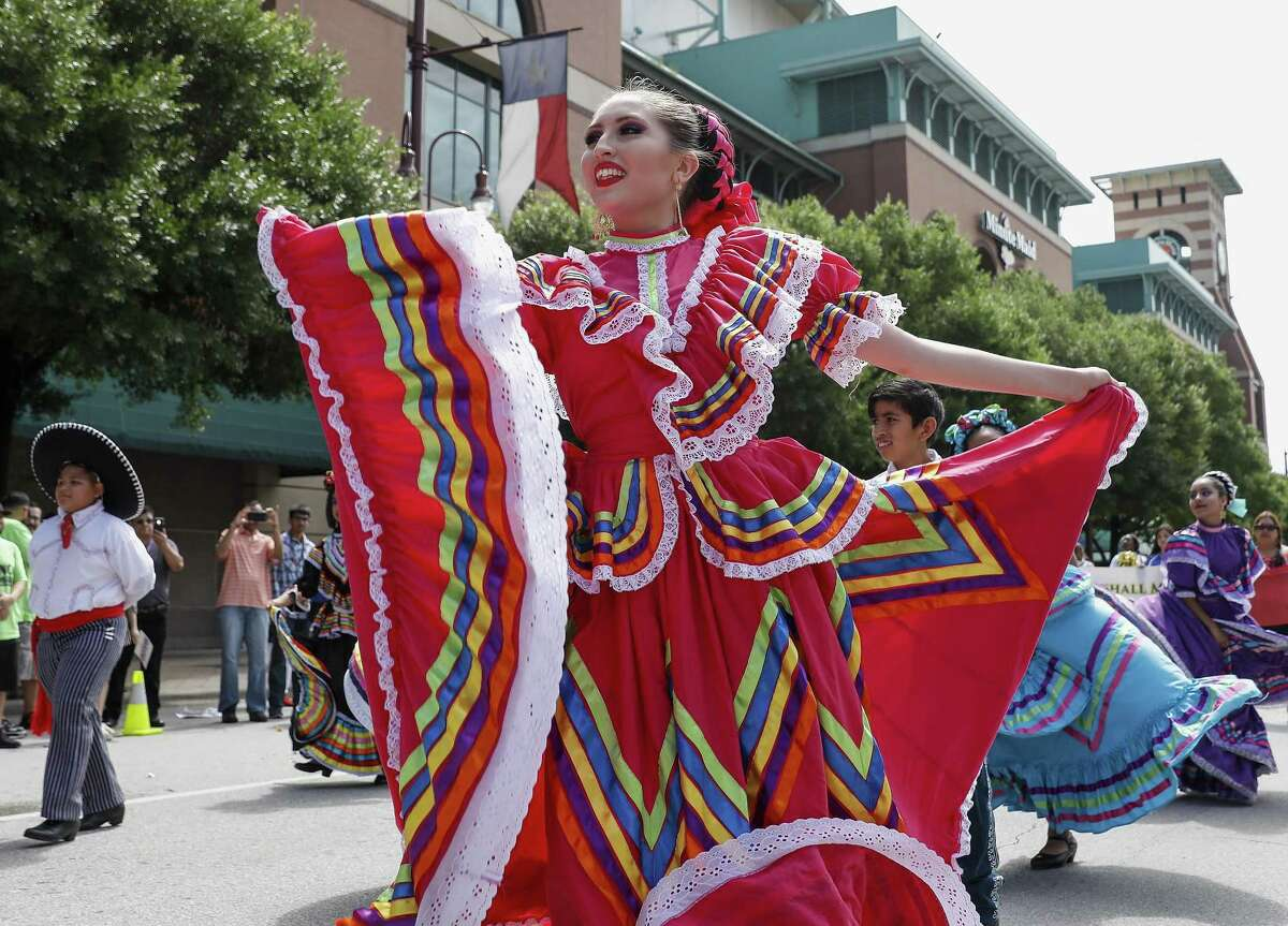 Members from Las Americas Ballet Folklorico perform during a Cinco de Mayo parade presented by LULAC District 8 in Downtown Houston, TX on Saturday, May 5, 2018.