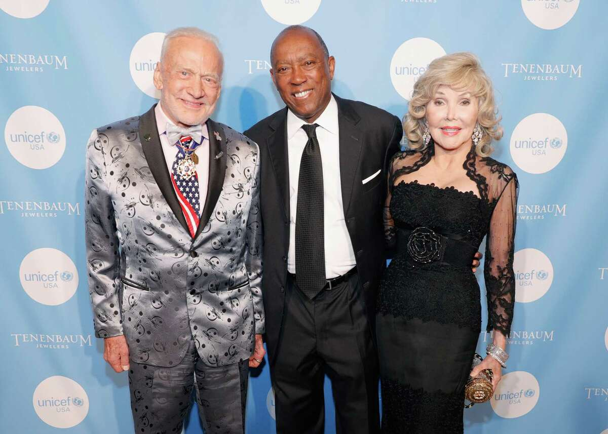 HOUSTON, TX - MAY 04: (L-R) Buzz Aldrin, Mayor of Houston Sylvester Turner and Joanne King Herring attend the Fifth Annual UNICEF Gala Houston 2018 at The Post Oak Houston on May 4, 2018 in Houston, Texas.