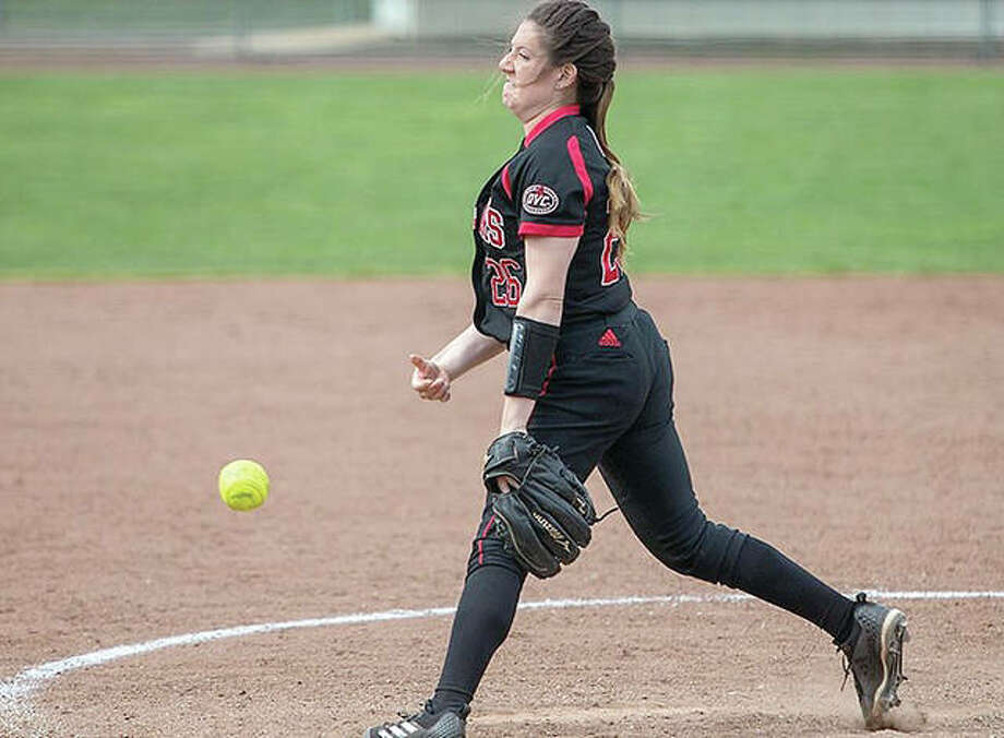 SIUE's Emily Ingles tossed the 36th no-hitter in school softball history in the Cougars' 1-0 win over Morehead State Saturday. Photo:       SIUE Athletics