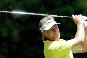 Bernhard Langer tees off on the 8th hole during the second round of the Insperity Invitational at the The Woodlands Country Club Saturday, May 5, 2018, in The Woodlands, TX. (Michael Wyke / For the  Chronicle)