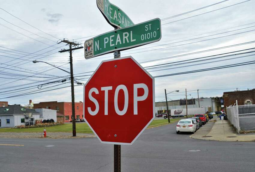 The intersection of North Pearl and Pleasant St. near where Kendal Haight, a longtime area homeless man, died of exposure Friday Dec. 8, 2017 in Albany, NY. (John Carl D'Annibale / Times Union)