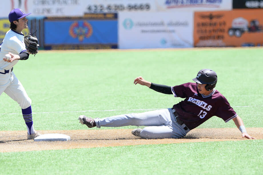 Lee's Tyler Madrid (13) is out at second base during the game against El Paso Franklin May 5, 2018, at McCanlies Field in Odessa. James Durbin/Reporter-Telegram Photo: James Durbin