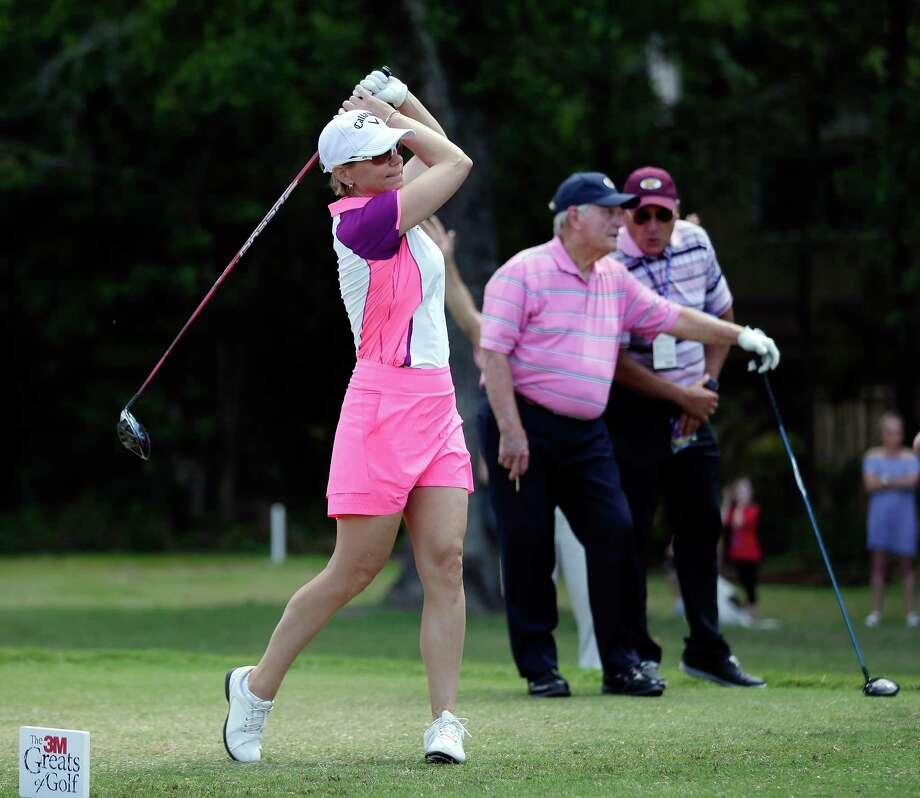 Annika Sorenstam tees off on the 10th hole as her playing partner, Jack Nicklaus watches in the background during the second round of the Insperity Invitational at the The Woodlands Country Club Saturday, May 5, 2018, in The Woodlands, TX. (Michael Wyke / For the  Chronicle) Photo: Michael Wyke, Freelance / © 2018 Houston Chronicle