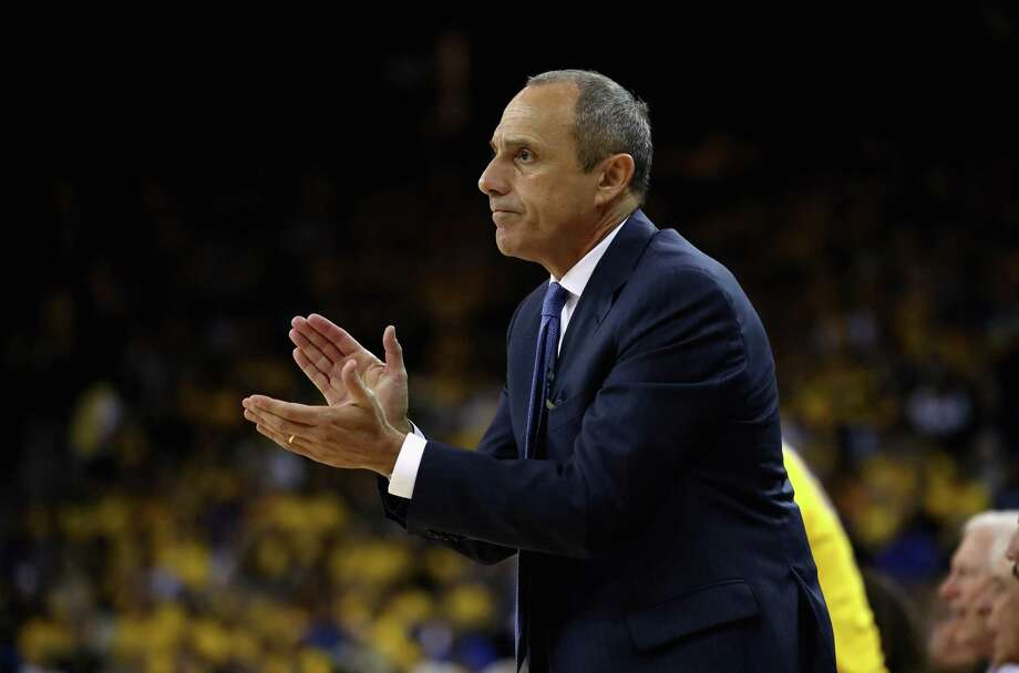 OAKLAND, CA - APRIL 24:  San Antonio assistant coach Ettore Messina claps for his team during Game Five against the Golden State Warriors of Round One of the 2018 NBA Playoffs at ORACLE Arena on April 24, 2018 in Oakland, California.  NOTE TO USER: User expressly acknowledges and agrees that, by downloading and or using this photograph, User is consenting to the terms and conditions of the Getty Images License Agreement.  (Photo by Ezra Shaw/Getty Images) Photo: Ezra Shaw, Staff / Getty Images / 2018 Getty Images