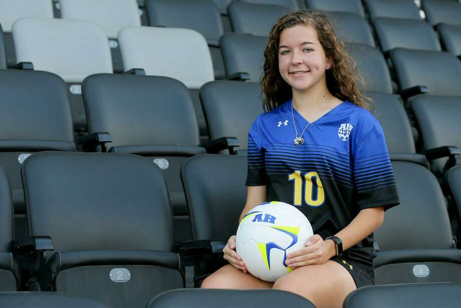 Dawson Brinkley, Alamo Heights midfielder/forward, posing at Toyota Field on Wednesday, May 2, 2018, is the Girls Player of the Year and a member of the 2018 Express-News All-Area Girls Soccer Team.  MARVIN PFEIFFER/mpfeiffer@express-news.net Photo: Marvin Pfeiffer, Staff / San Antonio Express-News / Express-News 2018