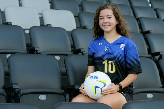 Dawson Brinkley, Alamo Heights midfielder/forward, posing at Toyota Field on Wednesday, May 2, 2018, is the Girls Player of the Year and a member of the 2018 Express-News All-Area Girls Soccer Team.  MARVIN PFEIFFER/mpfeiffer@express-news.net