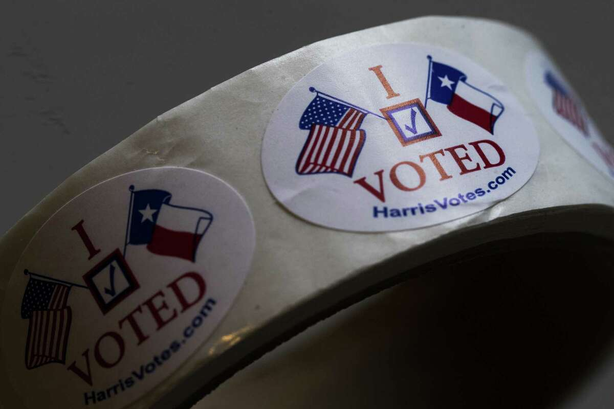 I Voted stickers ready to be distributed sit on top of a table at a polling place, Saturday, May 5, 2018, on special election day in Houston. ( Marie D. De Jesus / Houston Chronicle )